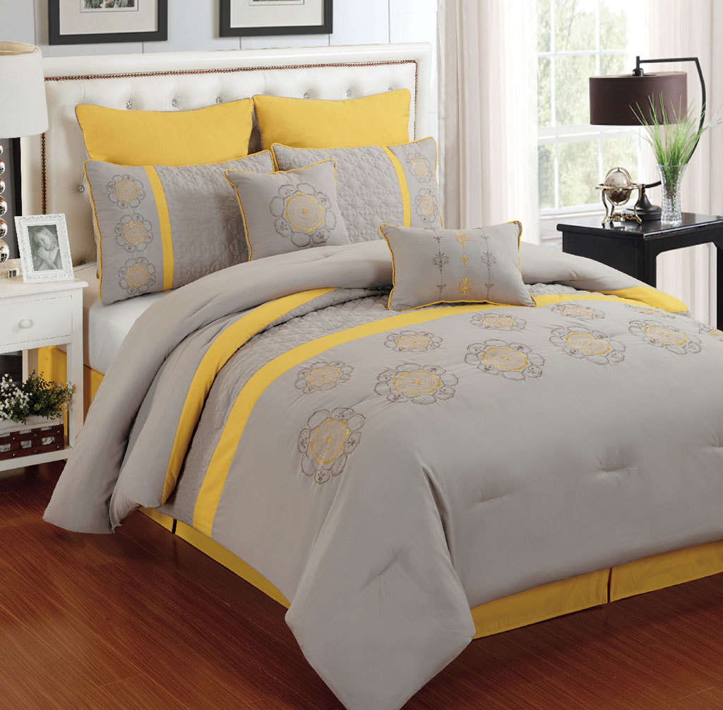 12 Piece Queen Kennedy Gray And Yellow Bedding Bed In A