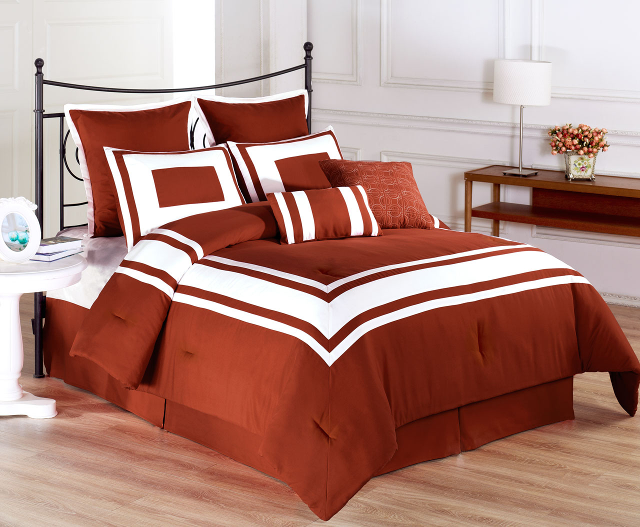 12 piece lux dcor burnt orange bed in a bag set - Burnt orange bedroom accessories ...