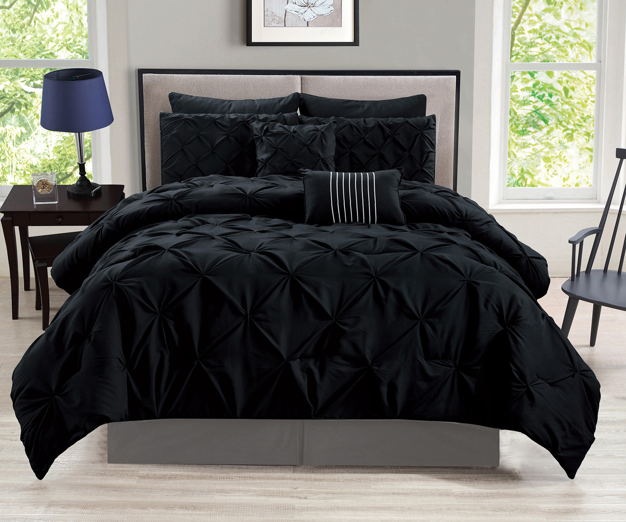 12 Piece Rochelle Pinched Pleat Black Bed In A Bag W/600TC Cotton Sheet Set  Cal King