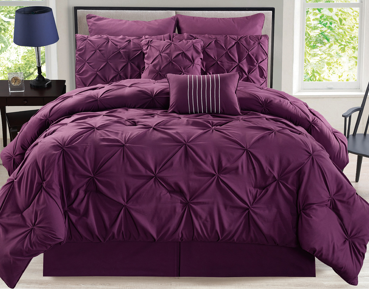 12 Piece Rochelle Pinched Pleat Plum Bed In A Bag Set