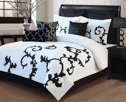 13 Piece Queen Duchess Black and White Bed in a Bag Set