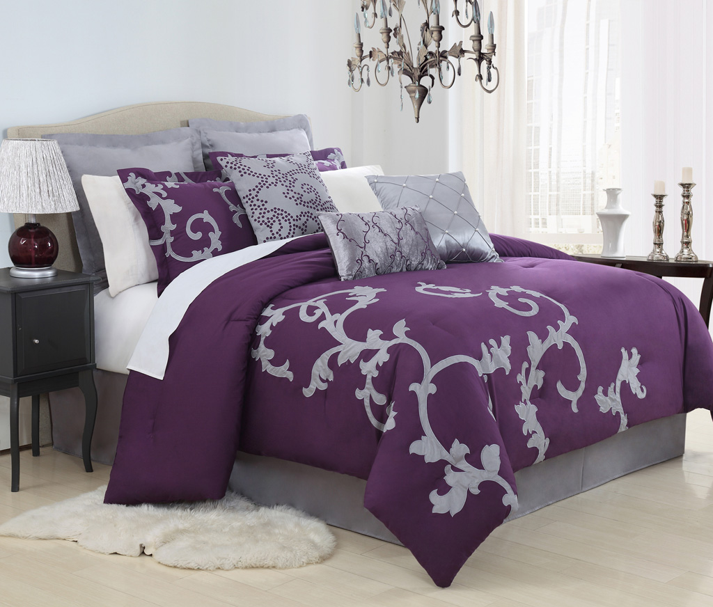 13 piece duchess plum and gray bed in a bag set. Black Bedroom Furniture Sets. Home Design Ideas