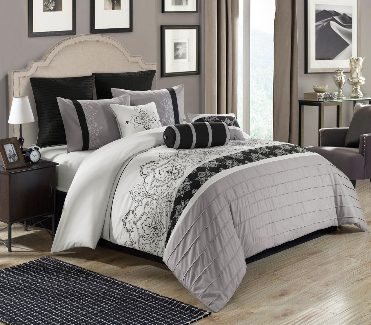 13 Piece Queen Temsia Gray White Black Bed In A Bag W