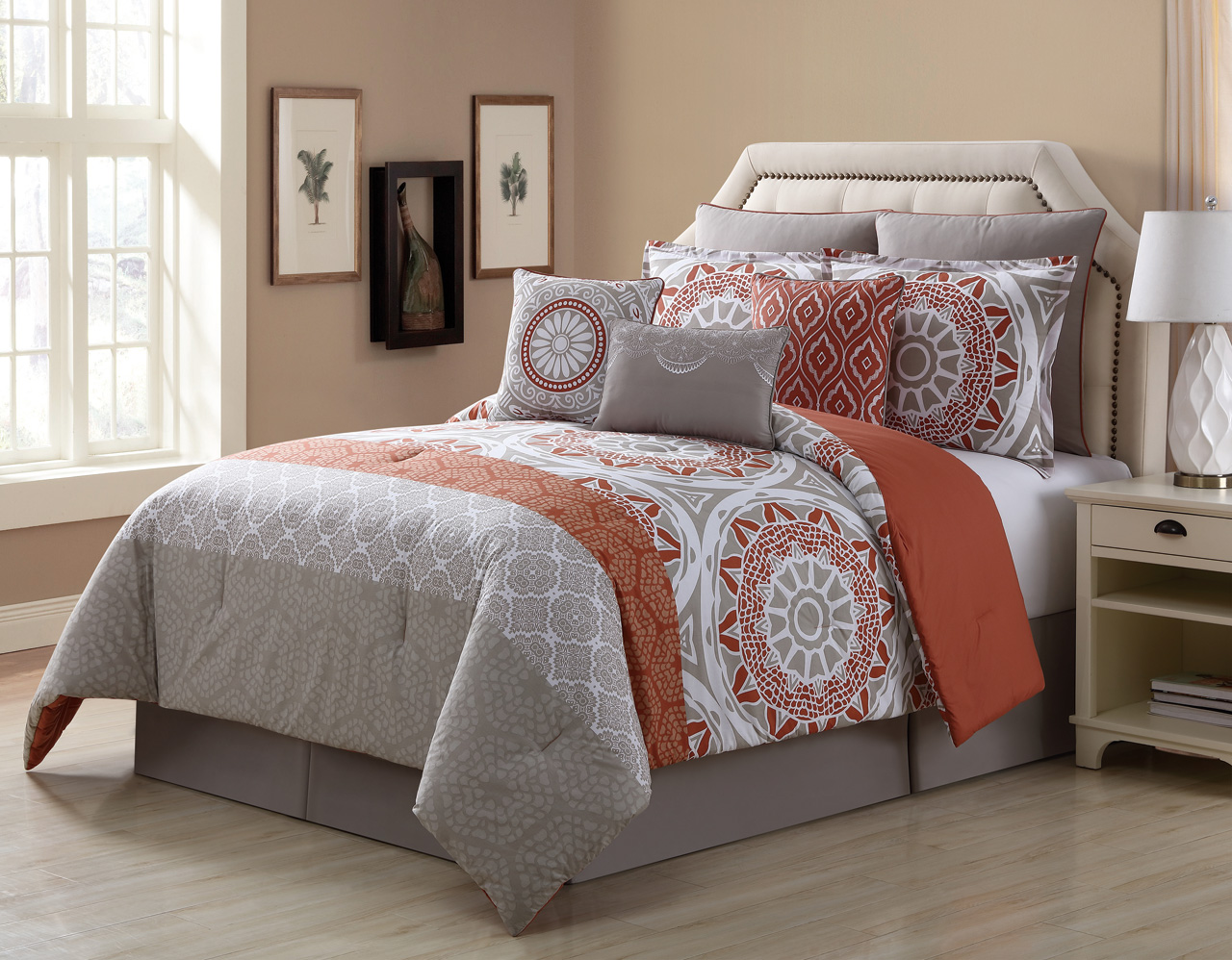 13 piece tibet clay taupe 100 cotton bed in a bag set. Black Bedroom Furniture Sets. Home Design Ideas