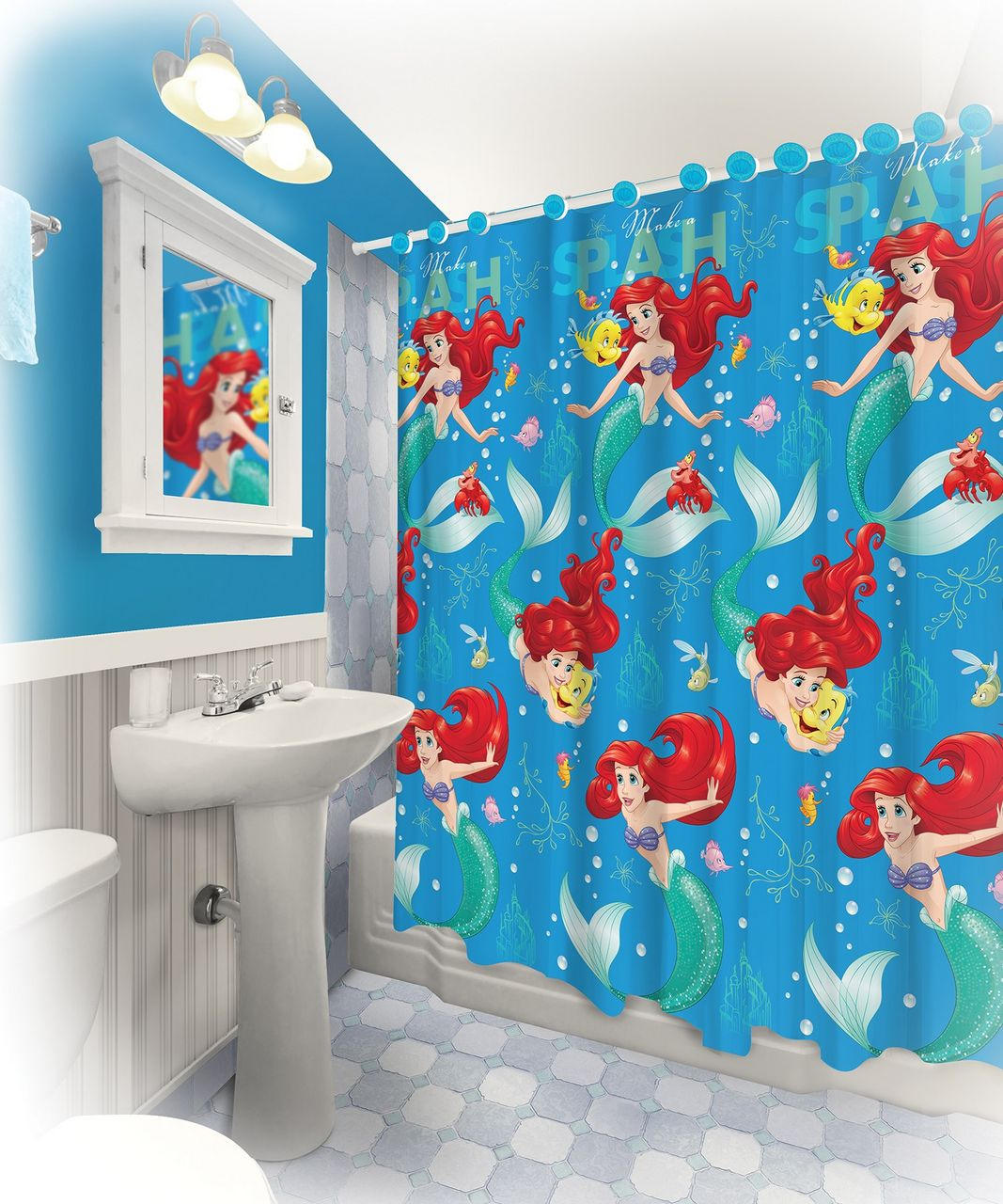 13 Pieces Disney Ariel Shower Curtain With Matching Hooks