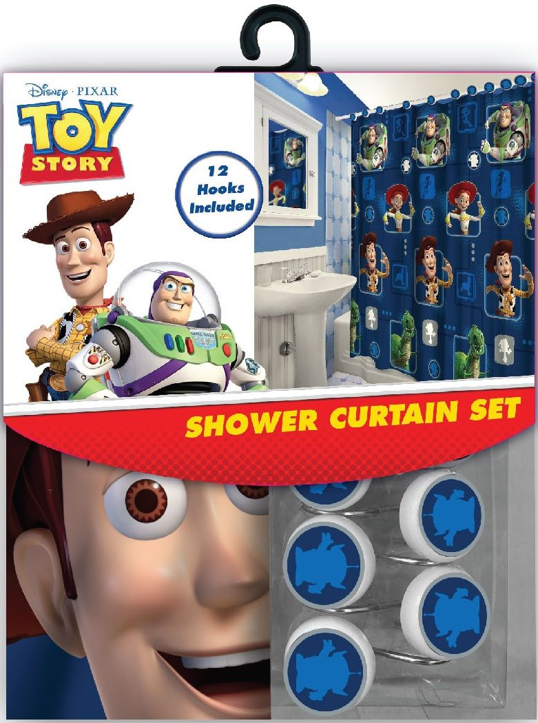 13 Pieces Disney Toy Story Shower Curtain With Matching Hooks