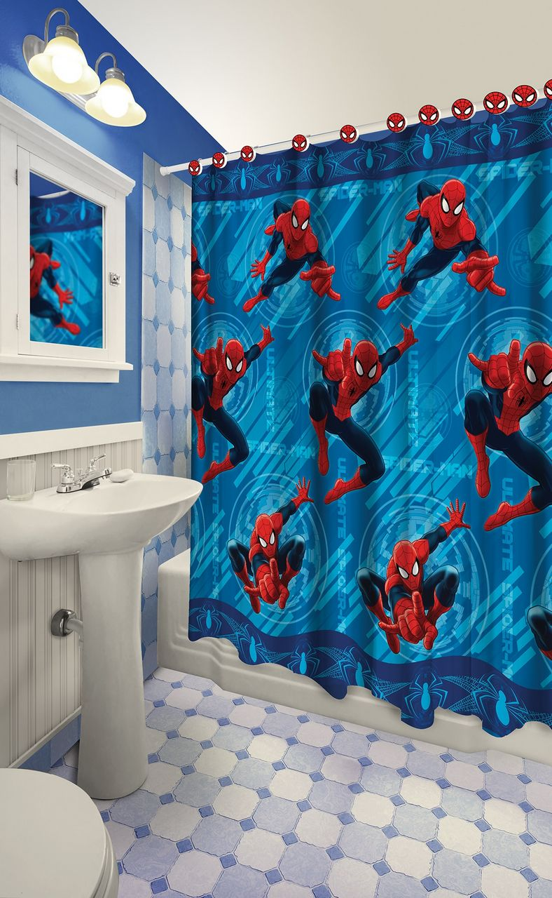 13 Pieces Marvel Spiderman Shower Curtain With Matching Hooks