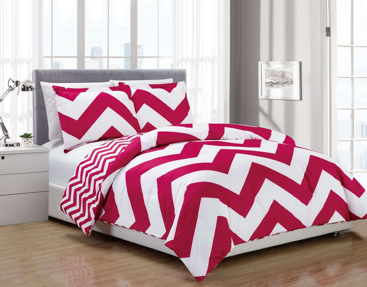 3 Piece Chevron Pink White Reversible Down Alternative