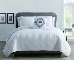 4 Piece Curly White Quilt Set