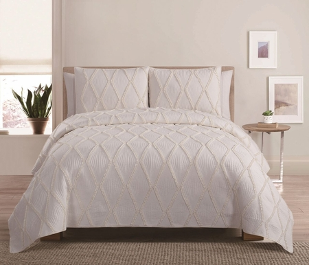 4 Piece Diamond Ruffle Ivory Quilt Set