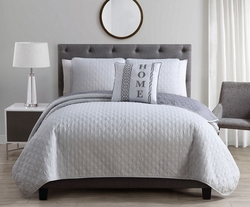 4 Piece Gate Silver/Gray Quilt Set