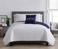 4 Piece Gate White/Navy Quilt Set