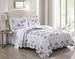 3 Piece King Rhonda Gray/Off White Quilt Set