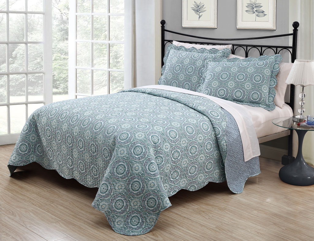 3 piece queen saira aquablue quilt set