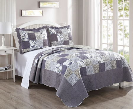 3 Piece Violet Blue Violet Quilt Set