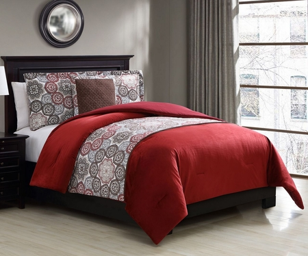 4 Piece Connor Faux Mink Red/Chocolate Comforter Set