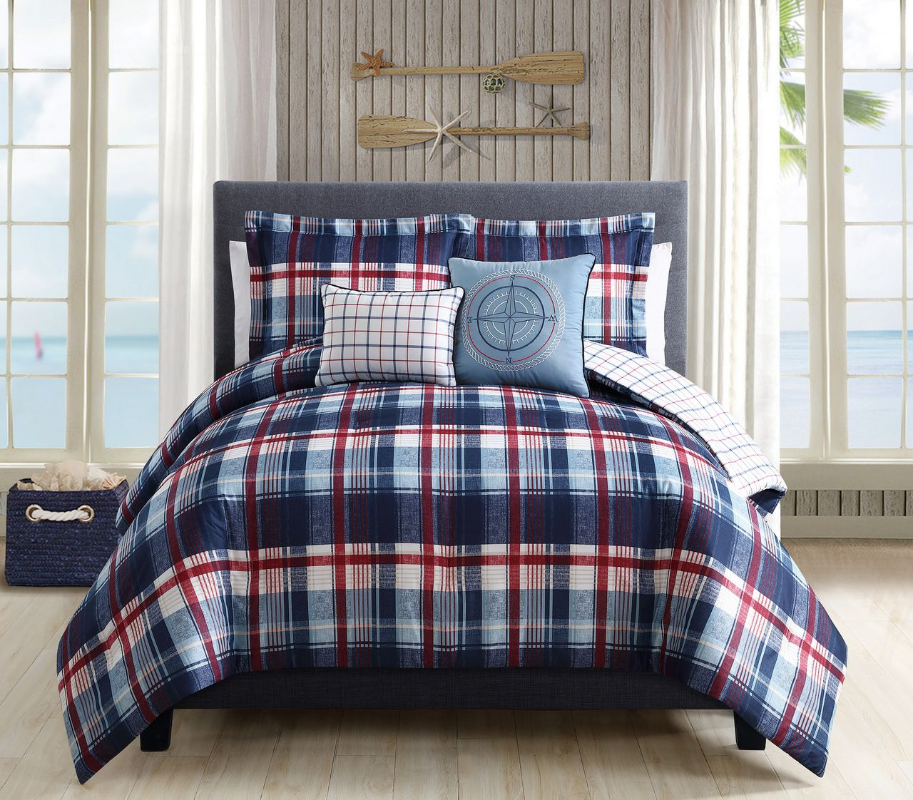 5 Piece Breezy Plaid Navy Red Reversible forter Set