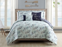 5 Piece Cabrillo Beach Mint Reversible Comforter Set
