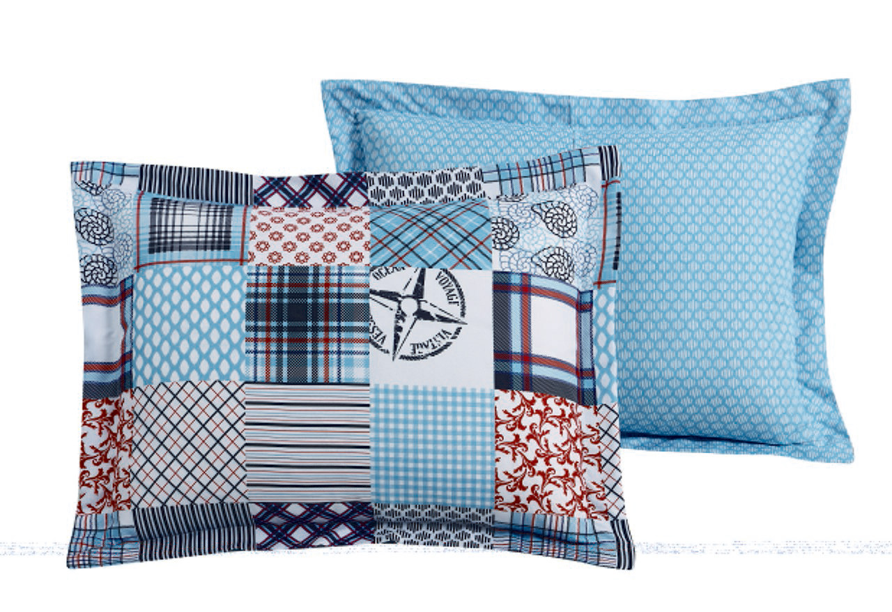 5 Piece Coastal Patchwork Reversible Comforter Set