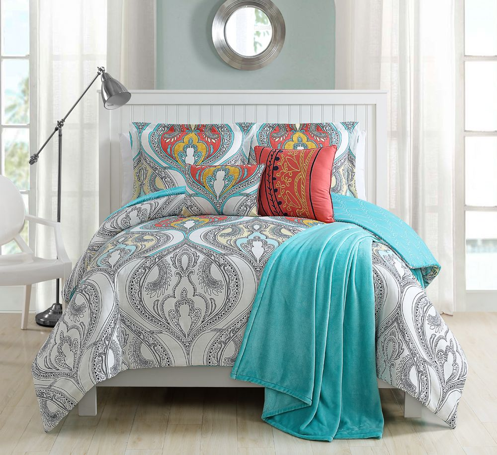 anthology set twin coral xl pin bed bedding piece in bungalow reversible comforter
