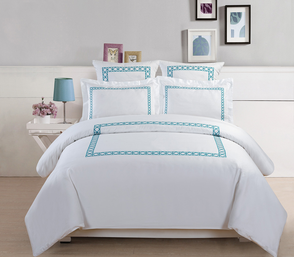 5piece hotel collection 500 thread count cotton embroidered duvet cover set