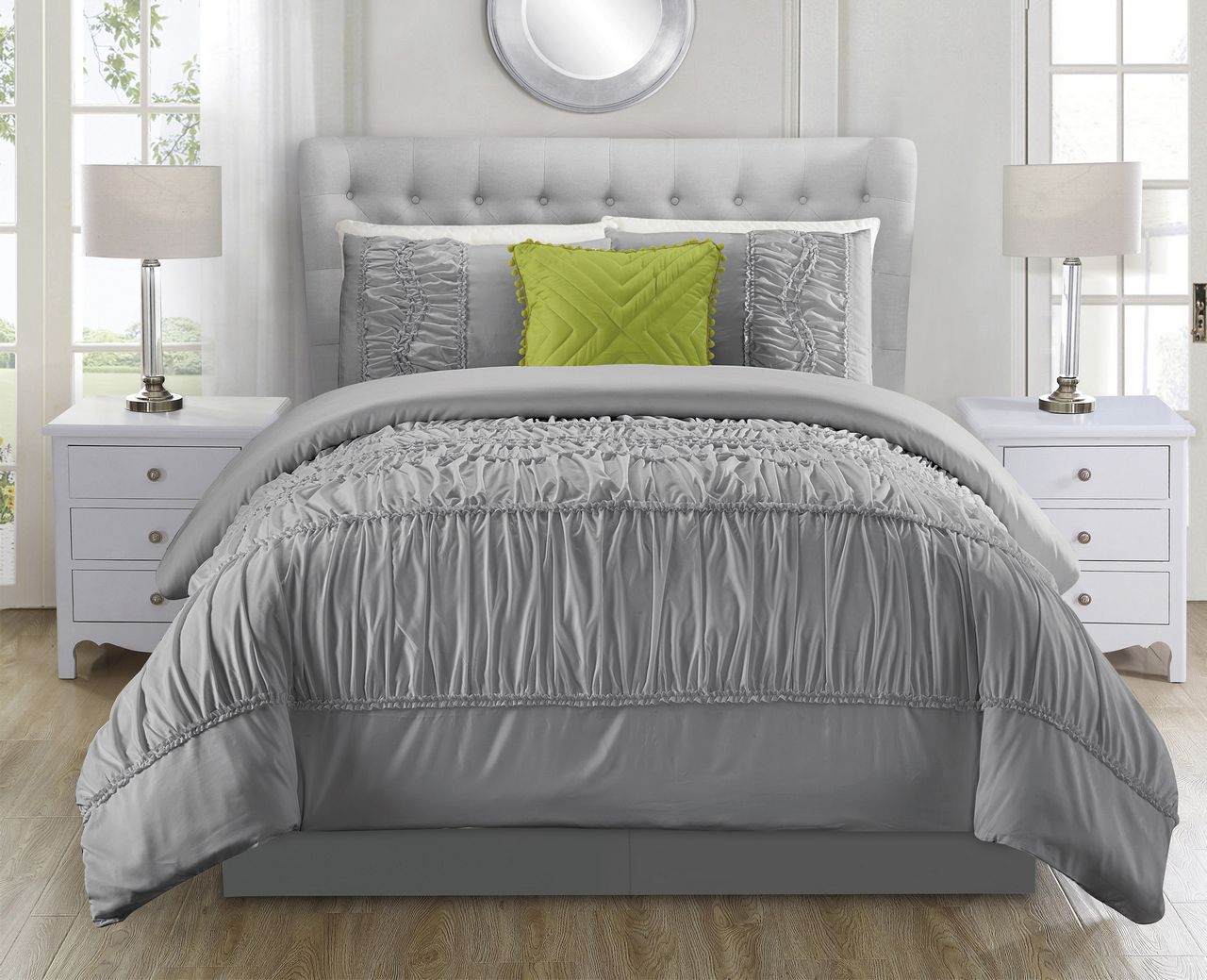 5 Piece Jervis Gray Comforter Set