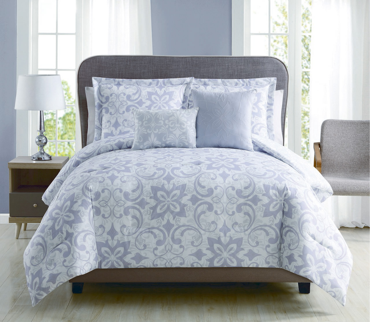 5 Piece Kendall Lilac Gray Reversible Comforter Set