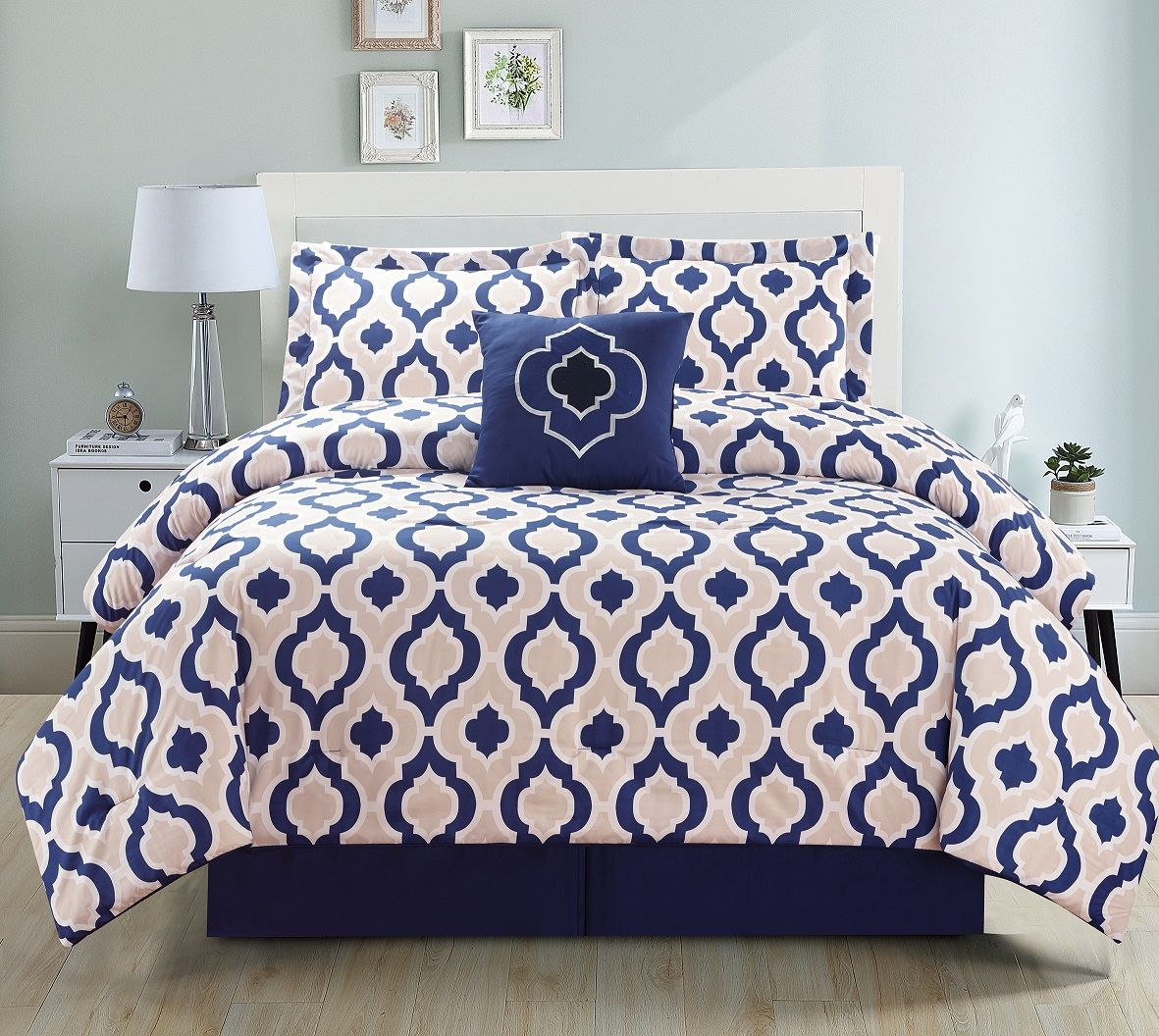 5 Piece Moroccan Navy Comforter Set