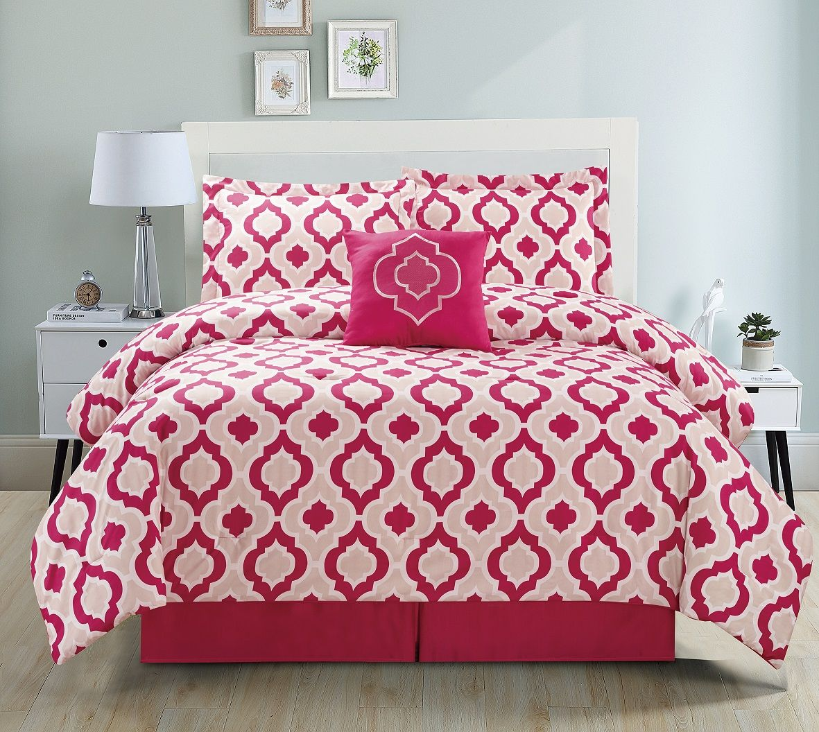 9 Piece Moroccan Pink Bed In A Bag Set