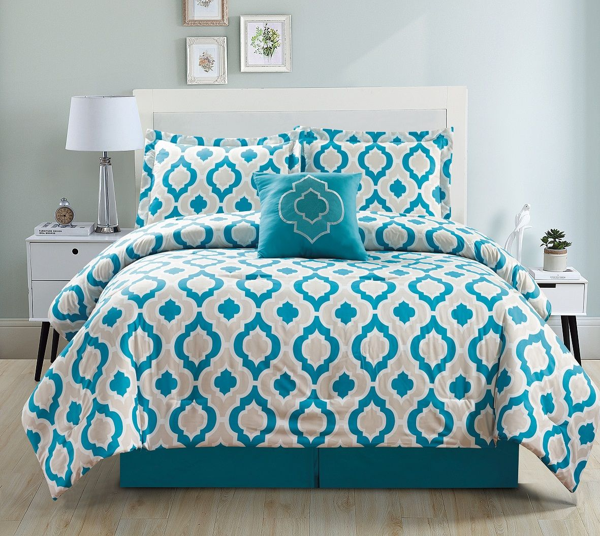 5 Piece Moroccan Teal Comforter Set King