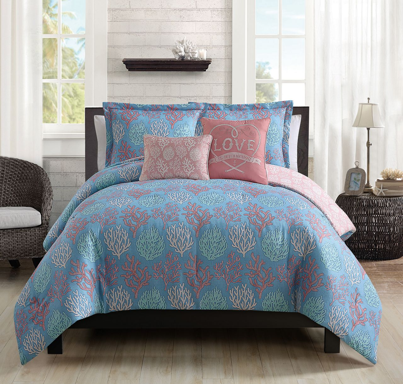 home amazon piece coral park dp central bed com king kitchen set luxury bedding comforter