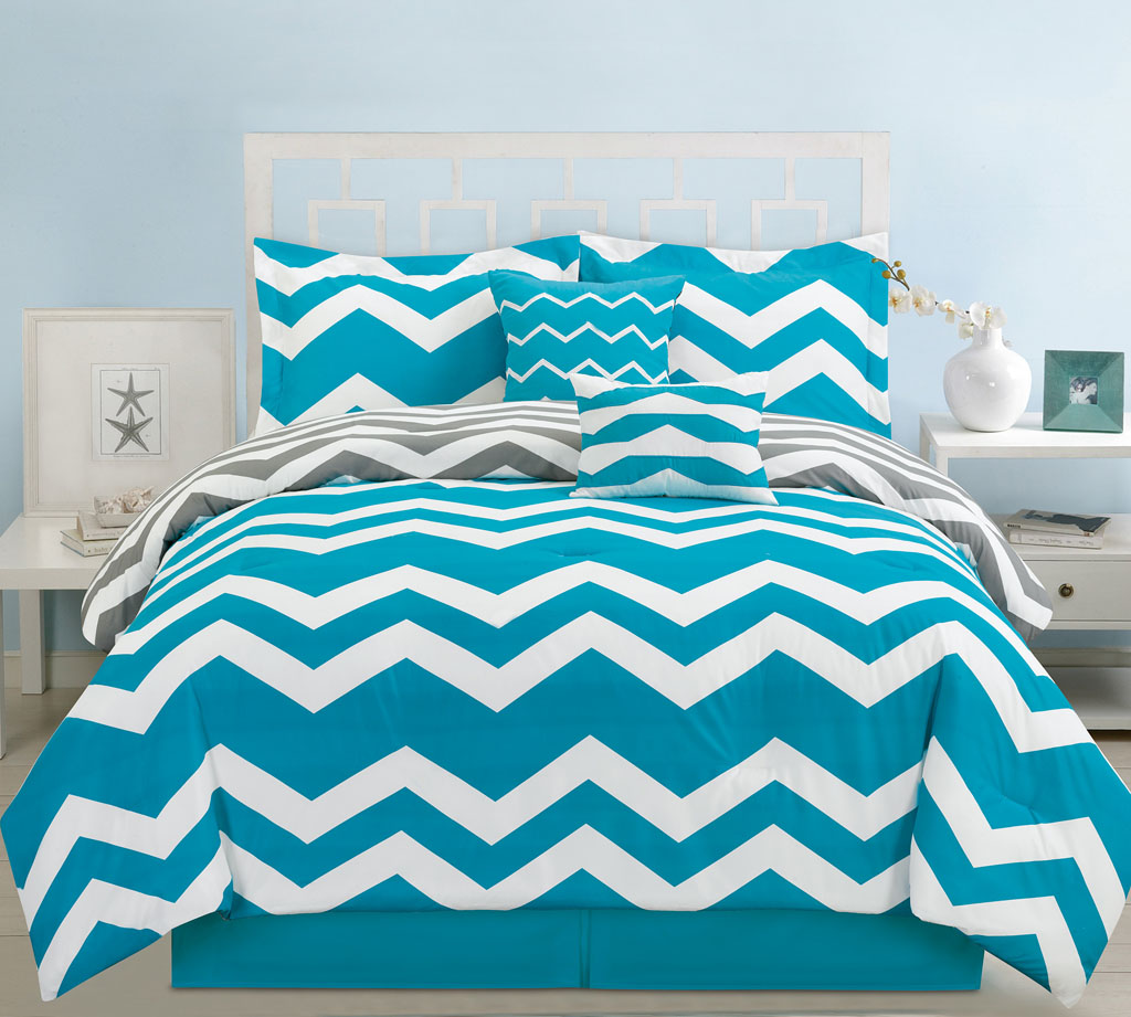 Royal blue bedding queen - 6 Piece Queen Chevron Teal Comforter Set