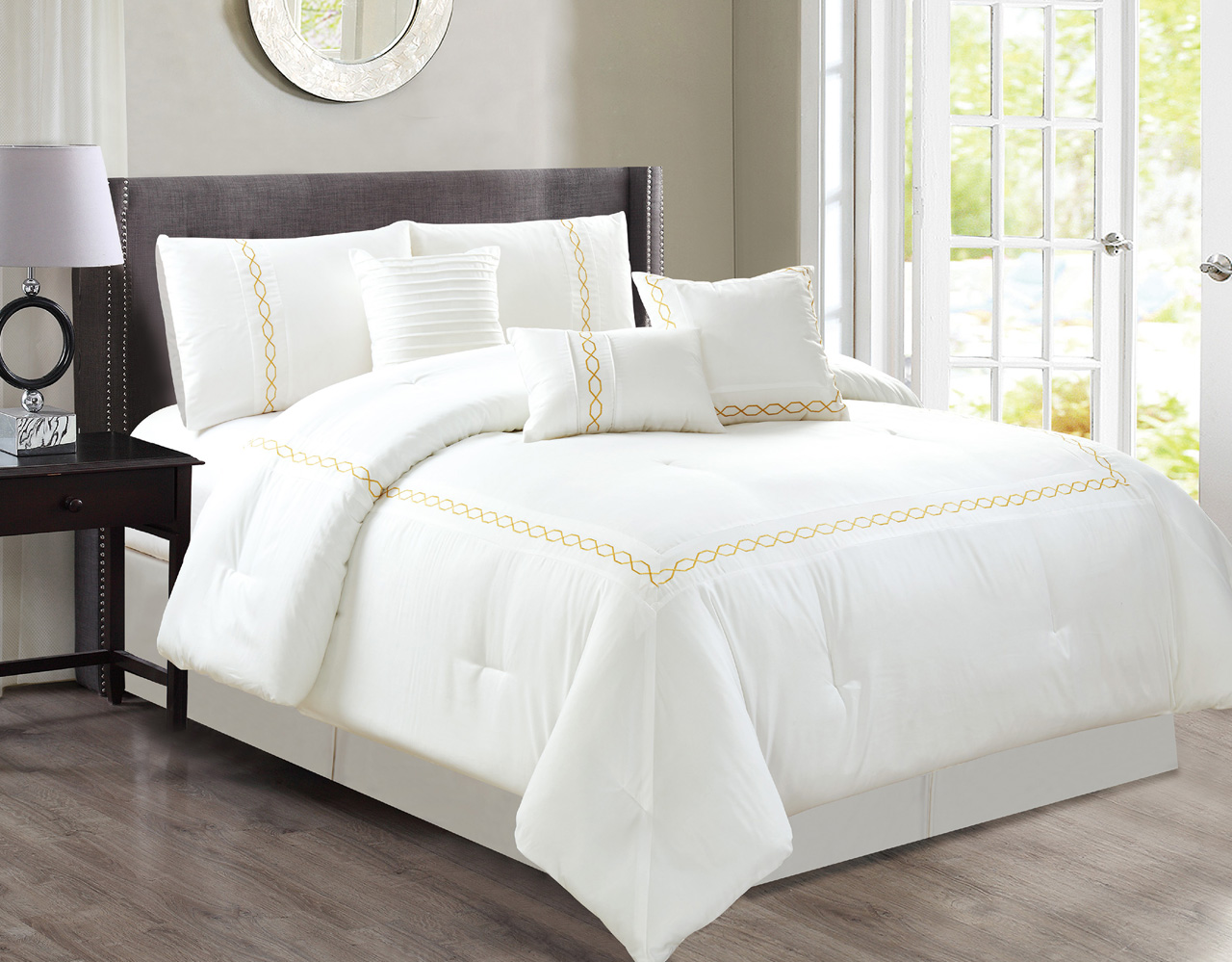 sidney 6 7 comforter set in white bed bath amp beyond 7 peace zamella white comforter set 997