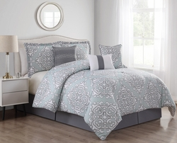 7 Piece Alina Mint/Gray Comforter Set