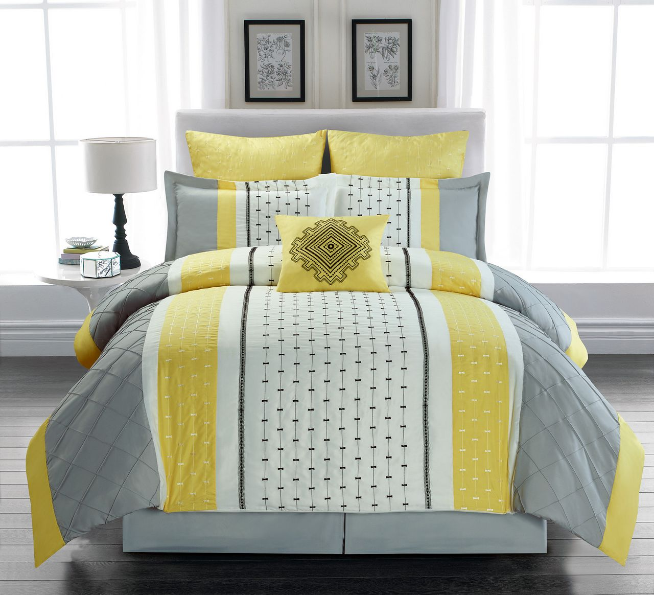 Yellow Gray Bed In A Bag : Piece buckley yellow gray ivory bed in a bag set