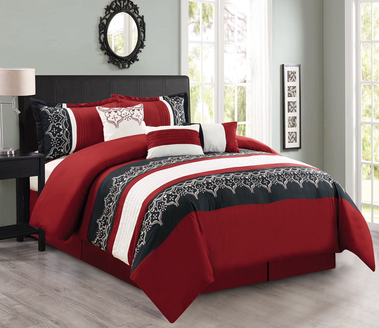7 Piece Burgundy/Black/White Comforter Set on burgundy bedroom designs, burgundy kitchen decorating, french themed bedroom ideas for decorating, burgundy and cream bedrooms,