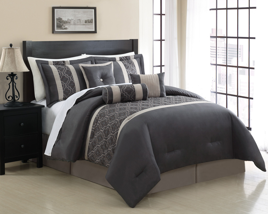 7 piece cal king renee embroidered comforter set for Home design bedding