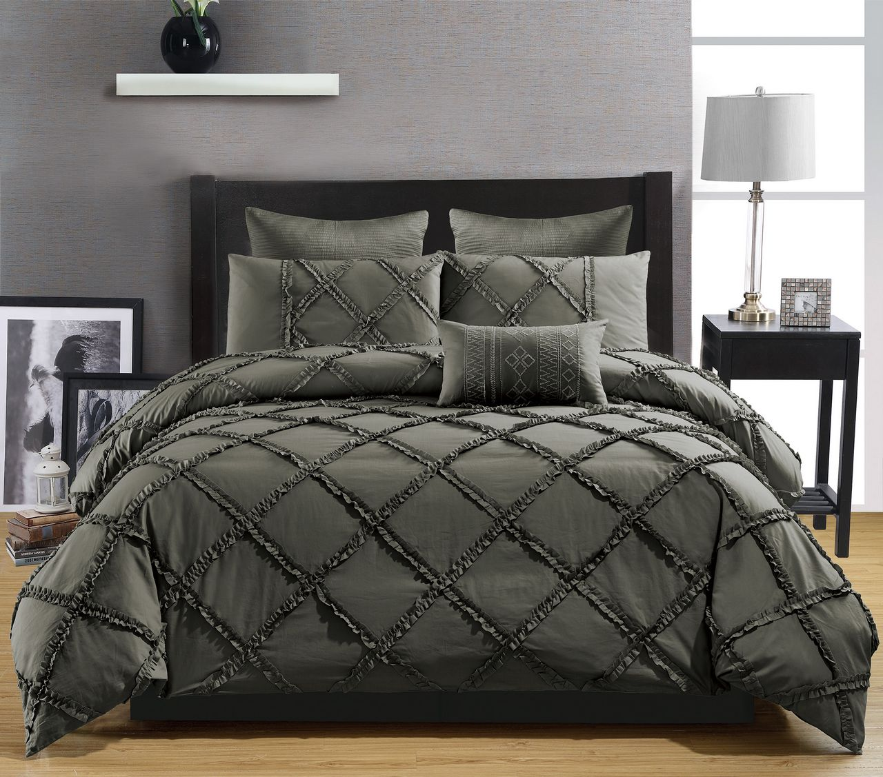 bedding size kitchen pieces bed set in a x beige com green king amazon bag comforter brown and stripe queen dp luxury home