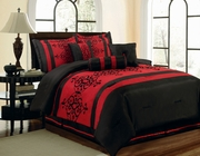 7 Piece Catherine Flocking Black and Red Comforter Set