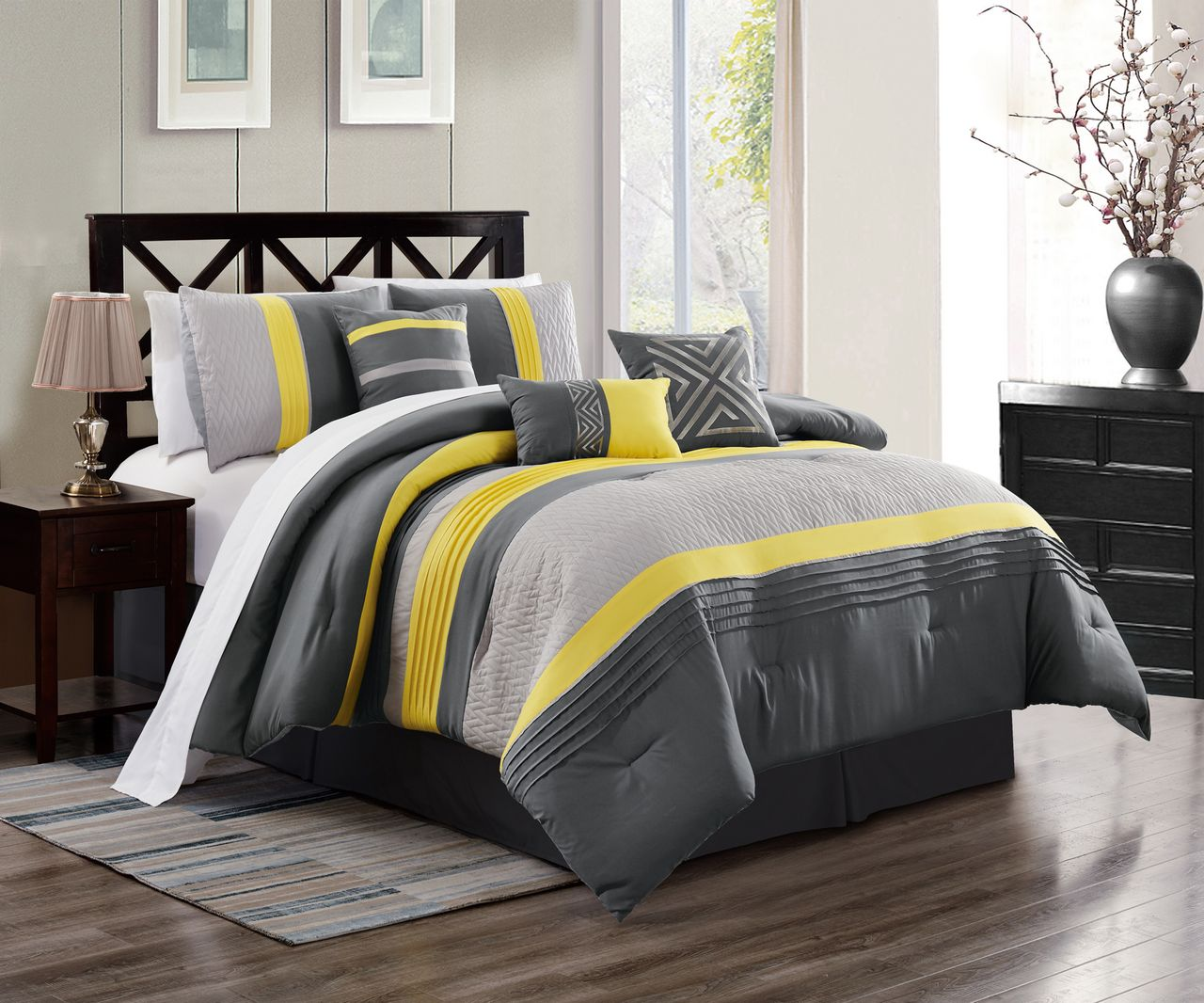 7 Piece Chai Yellow/Gray Comforter Set