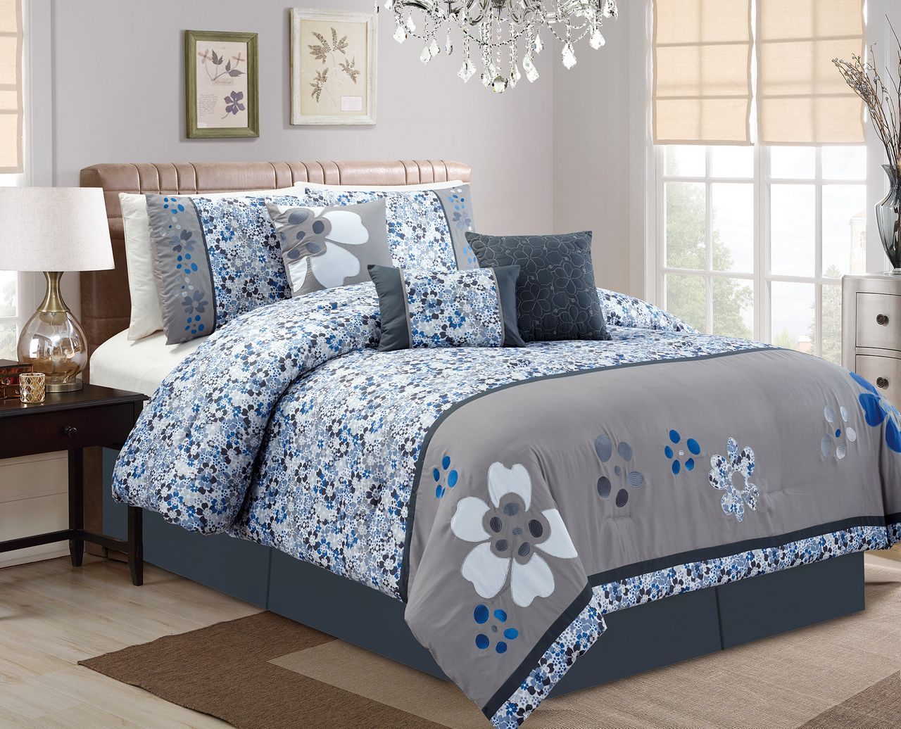 Piece Cherry Blossom BlueGray Comforter Set - Blue and grey comforter sets