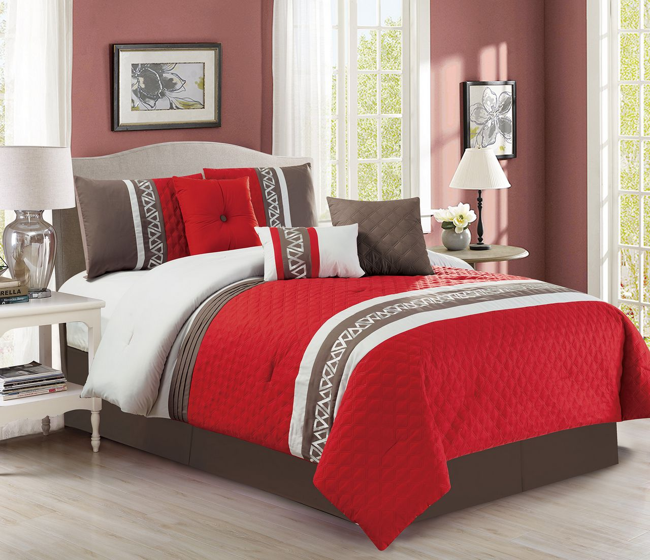 7 Piece Diamond Quilted Red/Taupe Comforter Set King