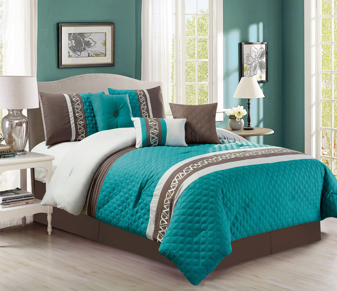 7 Piece Diamond Quilted Teal Chocolate Comforter Set