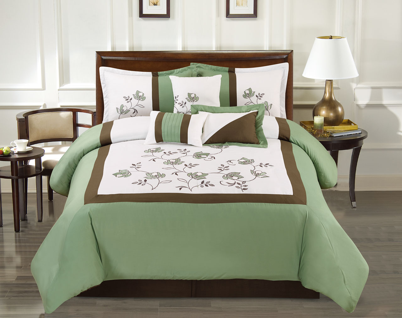 7 piece floral block embroidered greenivory comforter set king