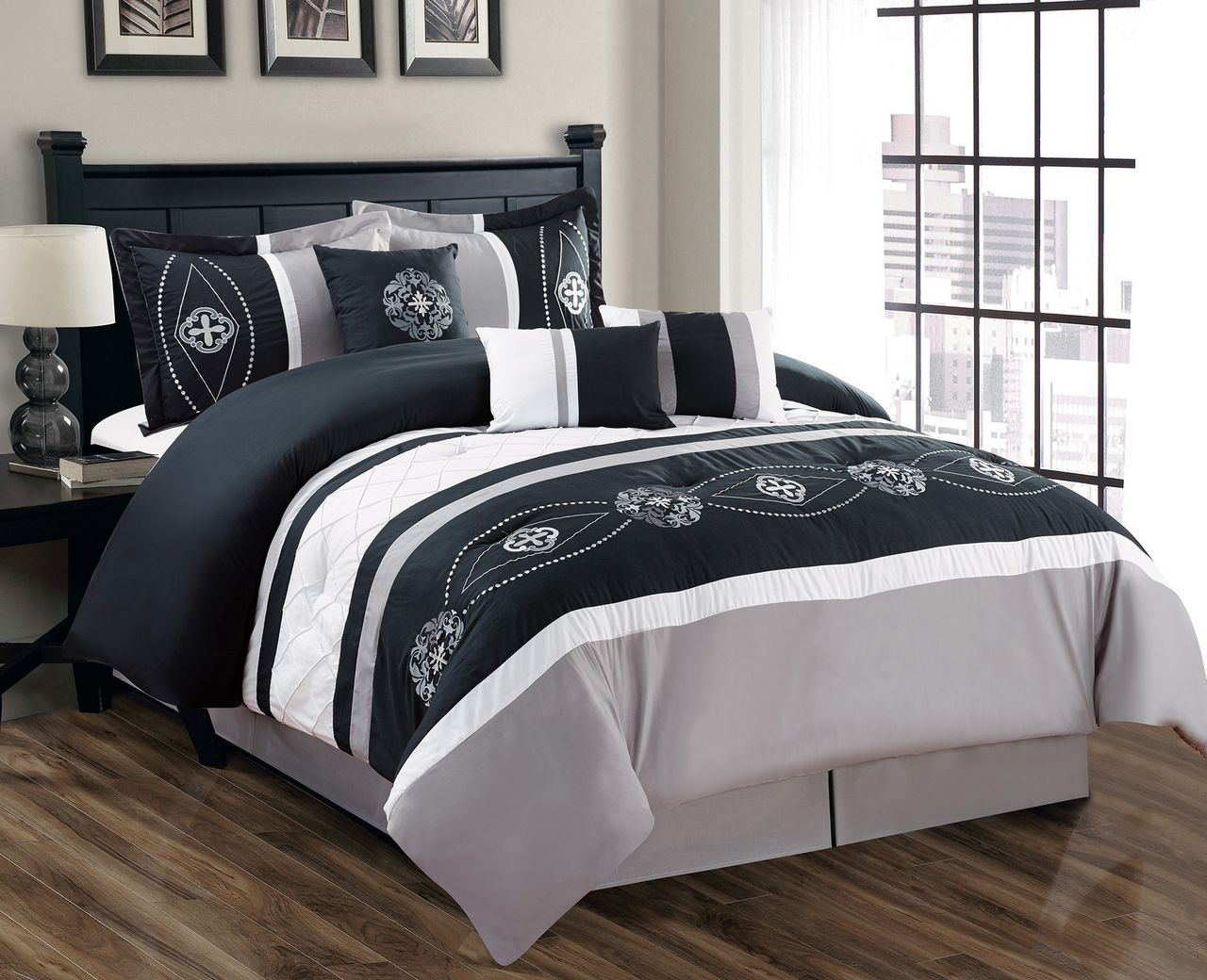 7 Piece Floral Embroidered Black Gray White forter Set