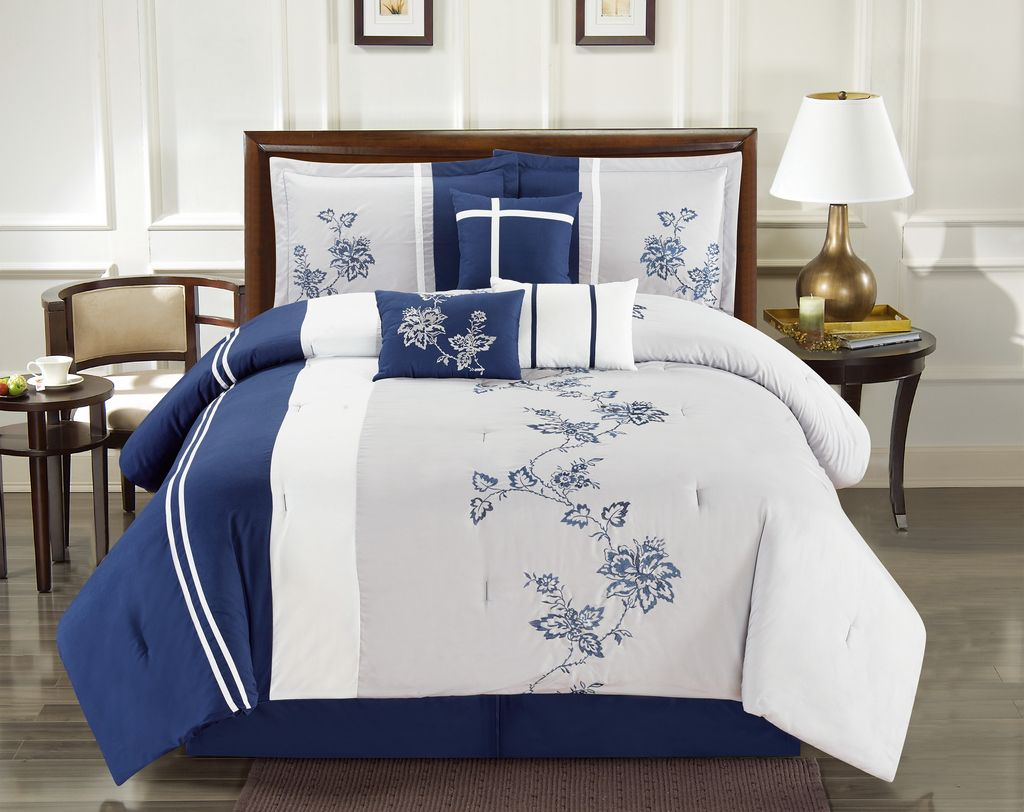 7 Piece Floral Vine Embroidered Navy Gray Comforter Set