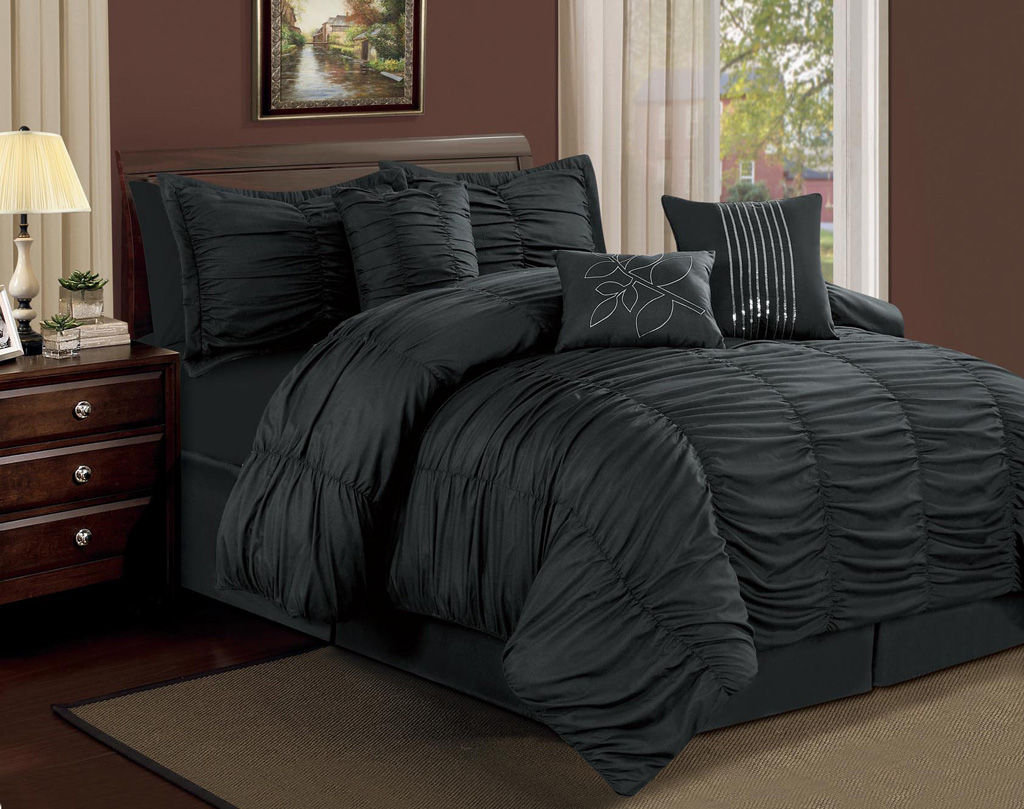 7 piece full hermosa ruffled comforter set black for Bed and mattress set