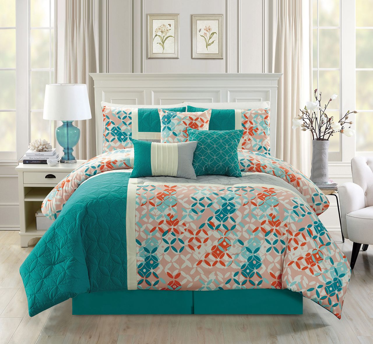 piece geometric quilted tealcoral comforter set -  piece geometric quilted tealcoral comforter set