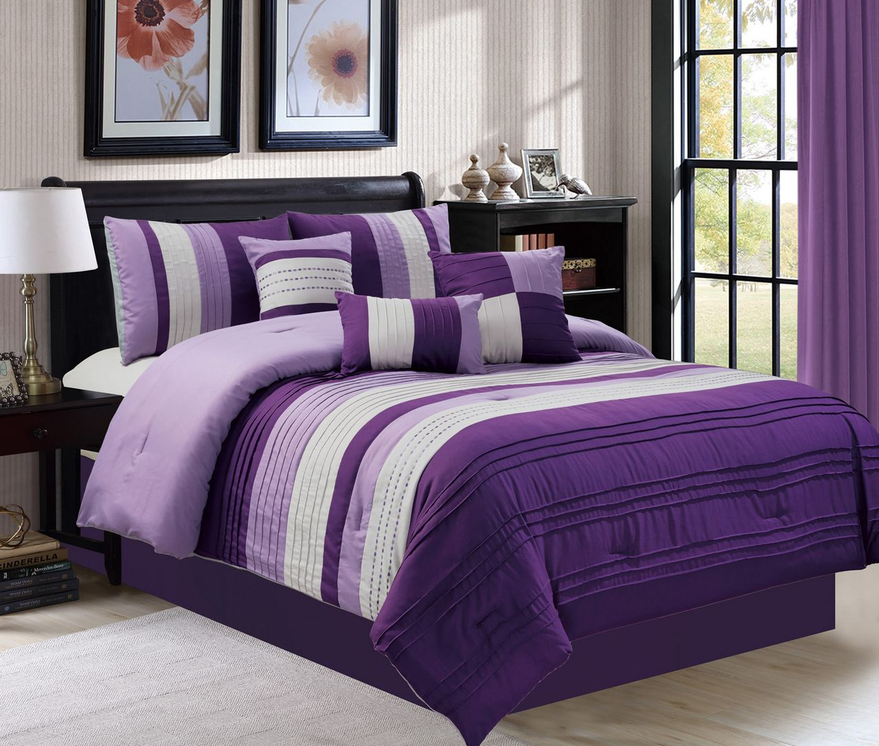 7 Piece Ghazi Purple  Gray Comforter Set