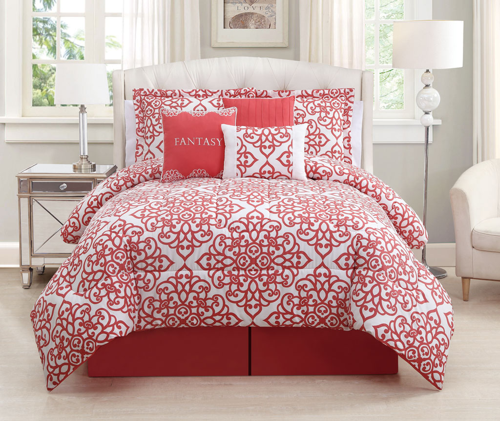 7 Piece Fantasy Coral White Comforter Set